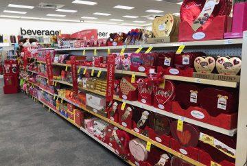 rayon d'un supermarché aux USA pendant la saint valentin