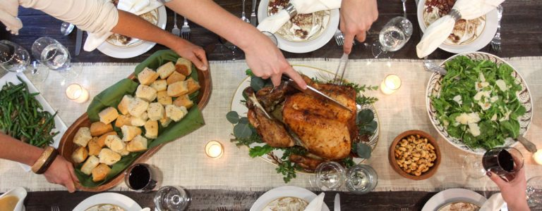 Repas typique de Thanksgiving aux USA