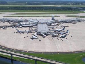 Les terminaux A et B de l'aéroport international MCO en 2002