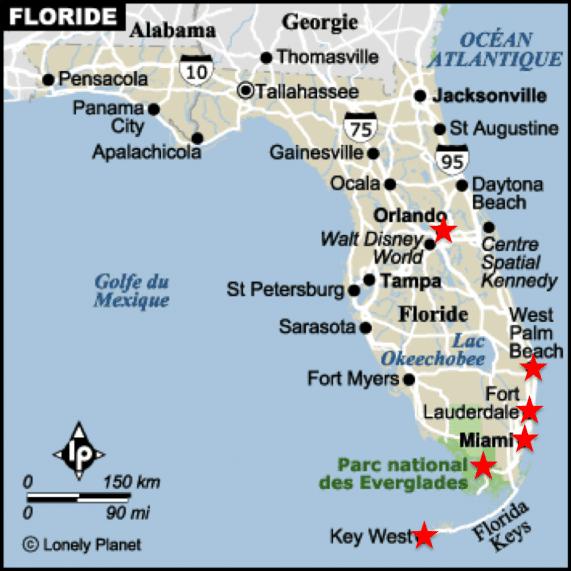 carte de l'etat de floride bordé par le golfe du mexique et l'Ocean Atlantique