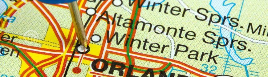 carte routière avec picto sur le nom de ville orlando
