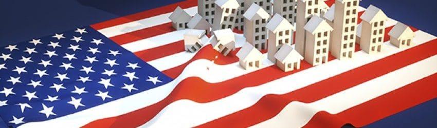 illustration drapeau américain et immobilier