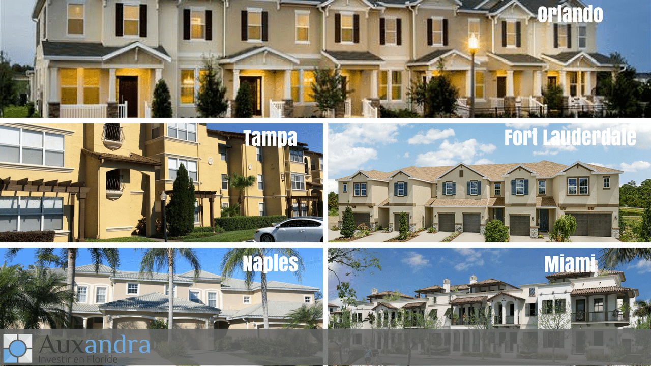 quel est le prix d'une maison de ville mitoyenne en Floride dans les villes de Tampa, Naples, Fort Lauderdale, Miami et Orlando